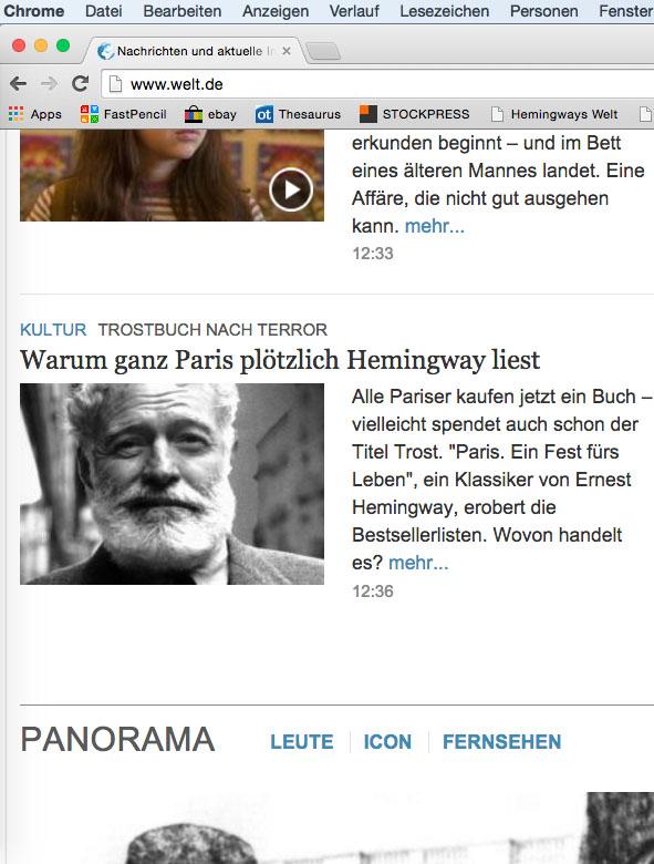 Ernest Hemingway Paris